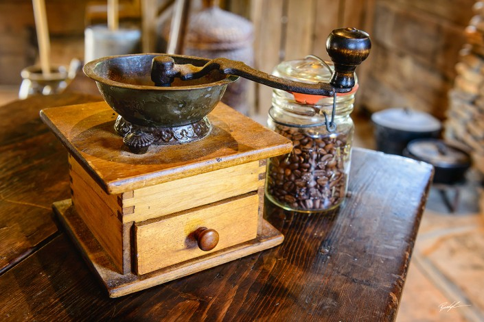 Coffee Grinder and Jar of Beans