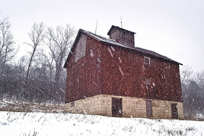 Country Barn Snow Storm Jersey County Illinois