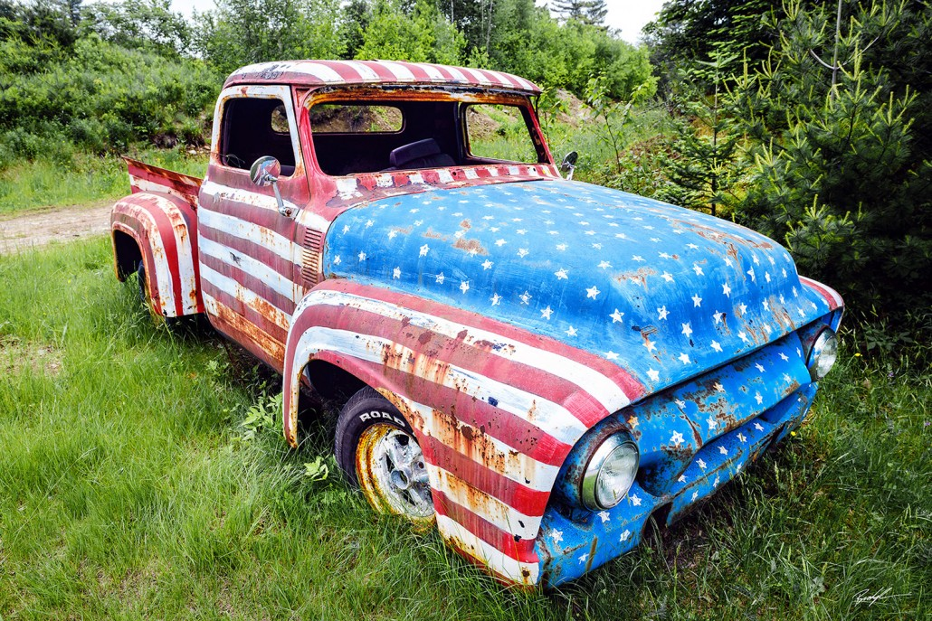 Old Truck Usa Flag Paint X