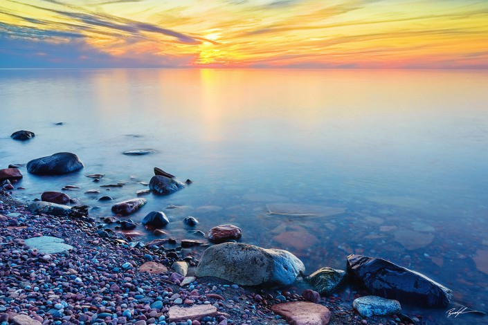 Lake Superior Sunset Keweenau Peninsula Michigan