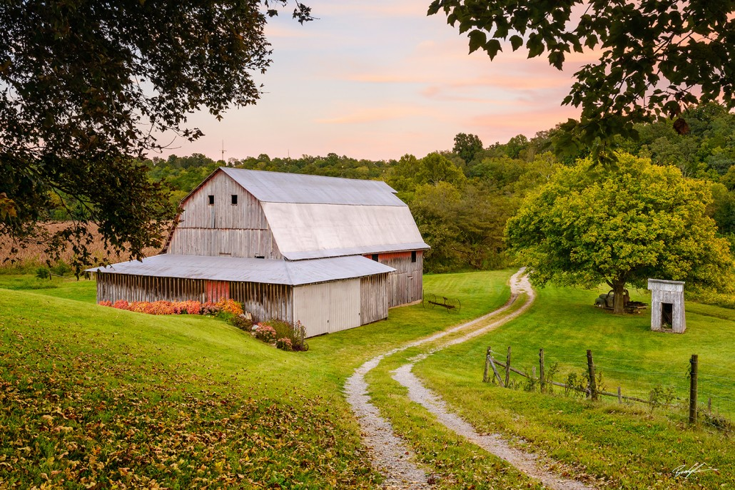 #R019 – Barn Lane and Sunset Rural Missouri - Rural Landscapes - Brady Kesner Photography