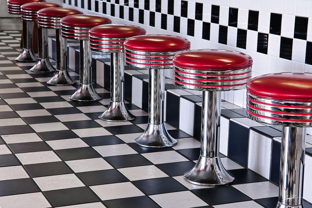 Diner Stools Checkerboard Floor