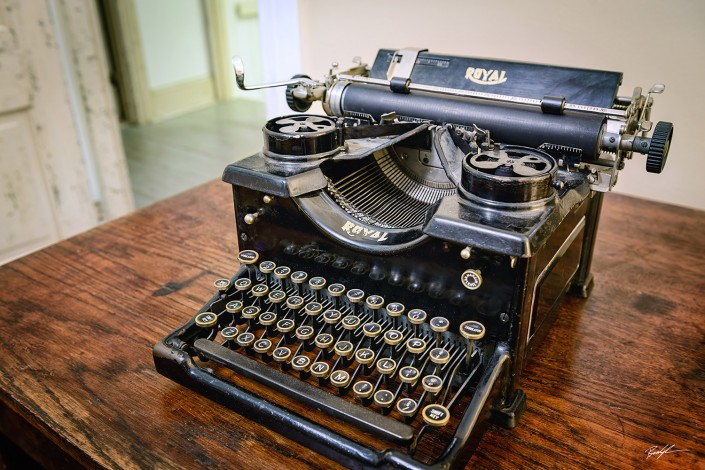 Old Typewriter on Desk