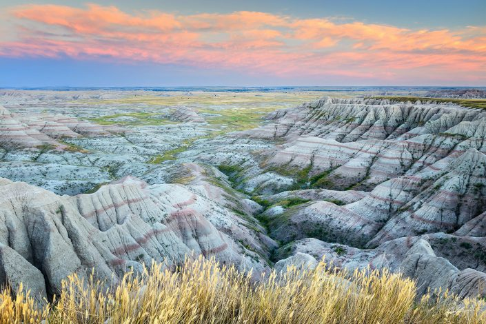 Sunset Over Banded Hills, Badlands National Park, South Dakota