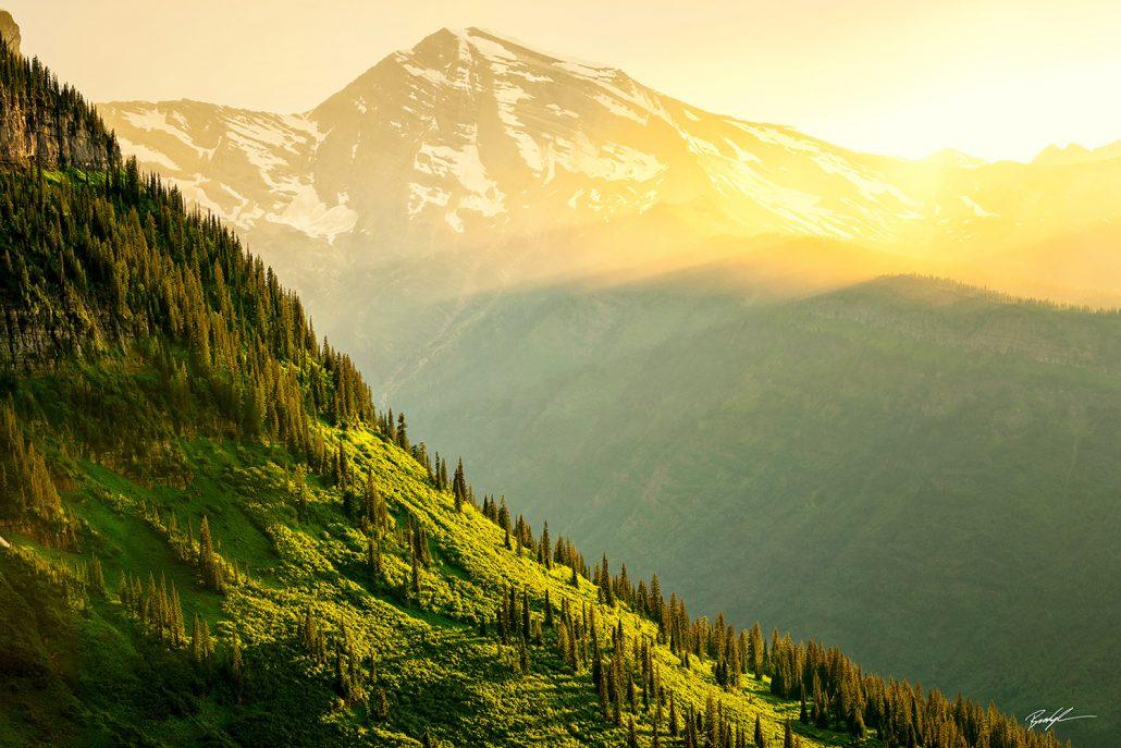 Sun Scrape on Mountain Glacier National Park Montana