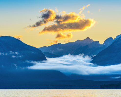 Sunrise and Clouds Lake McDonald Glacier National Park