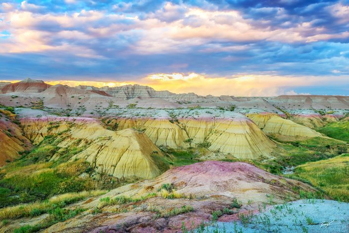 Sunset Yellow Mounds Badlands National Park