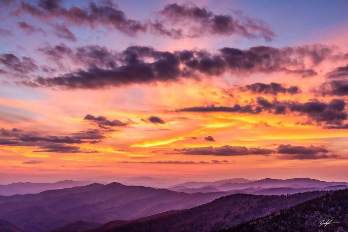 Clingman's Dome Sunset Smoky Mountain Ntional Park Tennessee