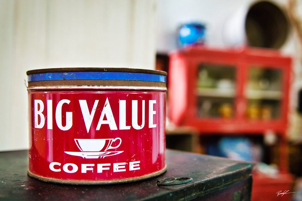 Antique Coffee Cans Red and Blue