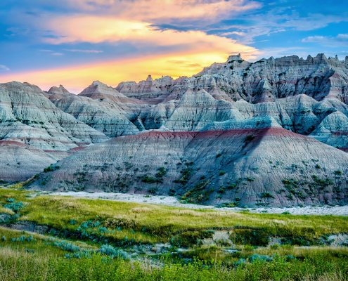 Badlands National Park Sunset Blue Mounds