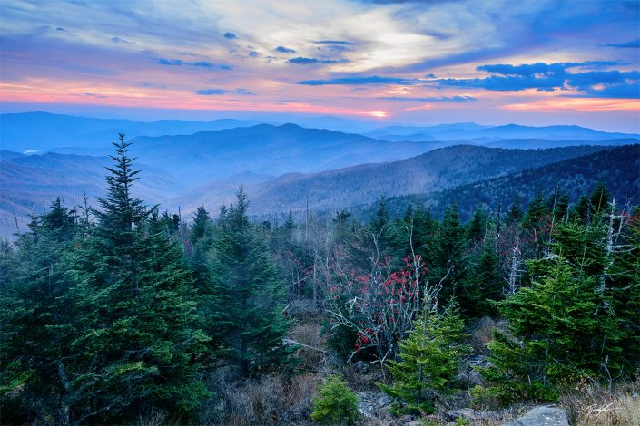Clingman's Dome Cool Sunset Smoky Mountain National Park Tennessee