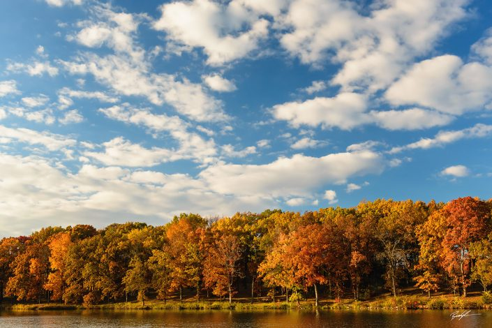 Silver Lake Autumn Trees Highland Illinois