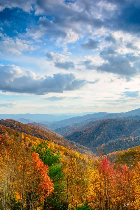 Autumn Ridges and Cloudy Sky, Smoky Mountain National Park, Tennessee