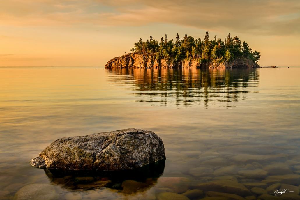 Tombolo Lake Superior North Shore Minnesota Sunrise