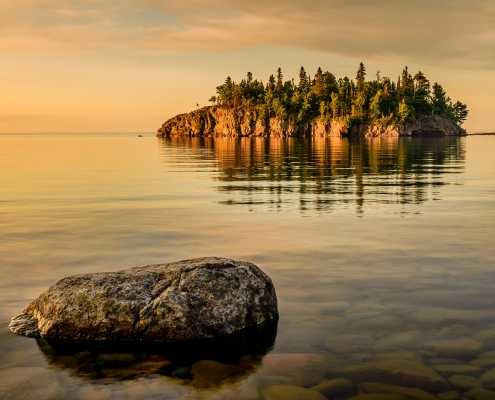 Tombolo Lake Superior North Shore Minnesota Sunrise