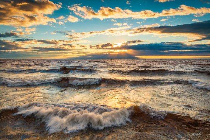 Lake Superior Sunset Waves Upper Peninsula Michigan